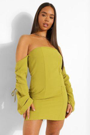 Boohoo Womens Linen Bardot Rouched Sleeve Mini Dress - - 2
