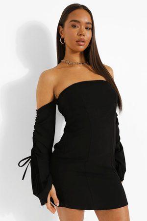 Boohoo Women Bodycon Dresses - Womens Linen Bardot Rouched Sleeve Mini Dress - - 2