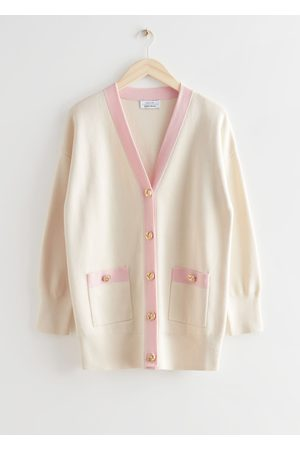 & OTHER STORIES Oversized Gold Button Two-Tone Cardigan