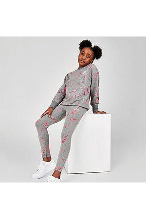 Nike Girls' Sportswear Favorites Swooshfetti Leggings in Grey/Carbon Heather Size Small Cotton/Spandex/Knit