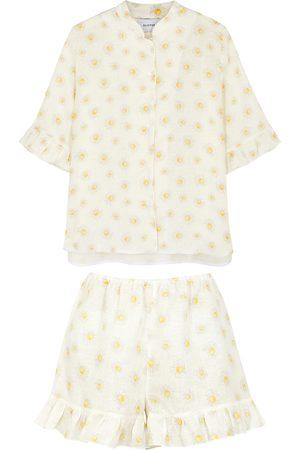Sleeper Floral-print ruffle-trimmed linen pyjama set