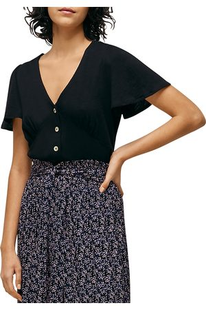 Whistles Button Front Frill Top
