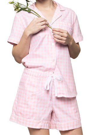 Petite Plume Gingham Cotton Pajama Shorts Set