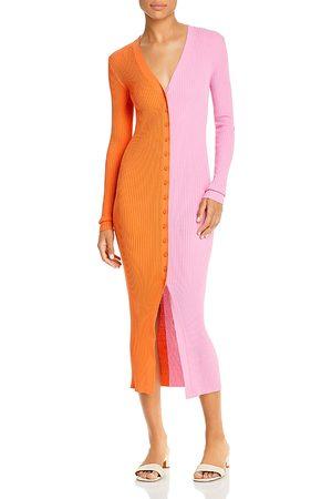 Staud Shoko Color Block Ribbed Sweater Dress