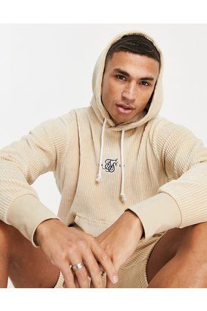 SikSilk Allure corduroy pullover hoodie in -Neutral