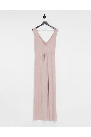 ASOS Women Jumpsuits - Mix & match lounge super soft rib jumpsuit with waist tie in dusky pink