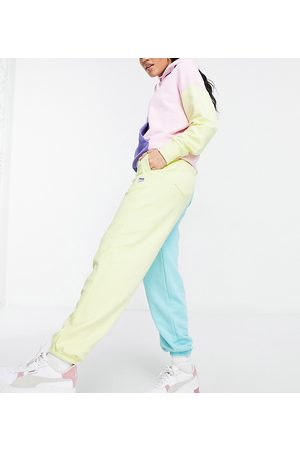 PUMA Downtown color-block sweatpants in pink and yellow - Exclusive to ASOS-Multi
