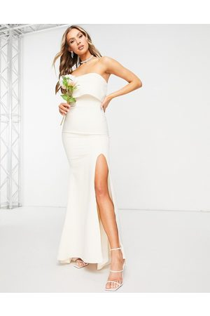Jarlo Bandeau overlay maxi dress with thigh slit in ecru