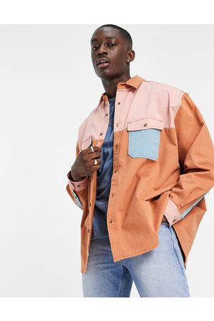 ASOS Oversized wide twill overshirt in color block