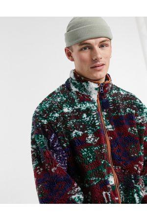 Jaded London Patchwork borg jacket-Multi