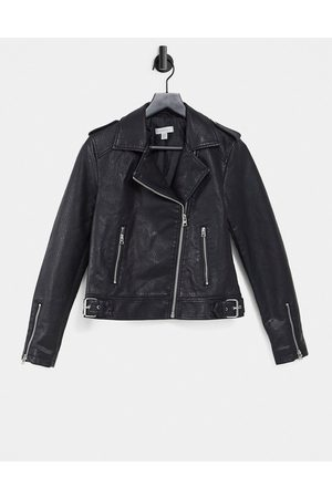 Topshop Classic faux leather biker jacket in