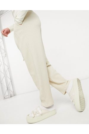 ASOS Oversized sweatpants in jumbo waffle with pleat details-Neutral