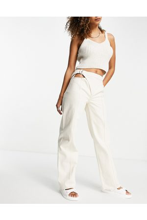 Weekday Hoop organic cotton wide leg jeans with wrap detail in ecru-Neutral