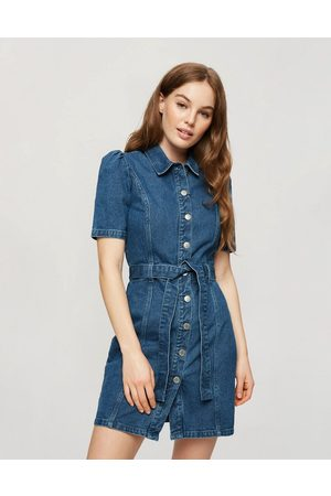 Miss Selfridge Denim shirt dress in mid wash-Blues