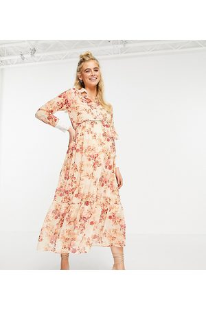 HOPE & IVY Collared shirt dress with wrap tie and drop hem in blush floral