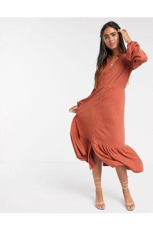 Y.A.S V-neck button down midi dress with pephem