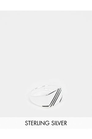 ASOS Sterling signet ring with contrast design in