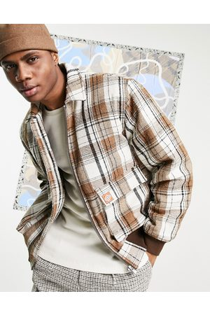 ASOS ASOS Day Social padded wool mix bomber jacket in ecru check