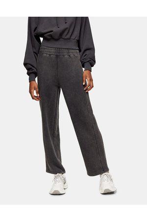 Topshop Straight leg sweatpants in acid wash black