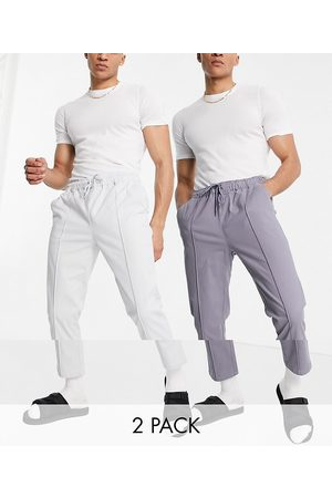 ASOS 2-pack slim chinos with elastic waist and pintuck in stone and gray - Save-Multi