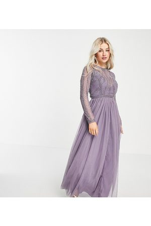 ASOS ASOS DESIGN Petite embellished bodice maxi dress with tulle skirt in lilac