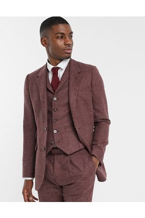 ASOS Slim suit jacket in burgundy and grey 100% lambswool puppytooth
