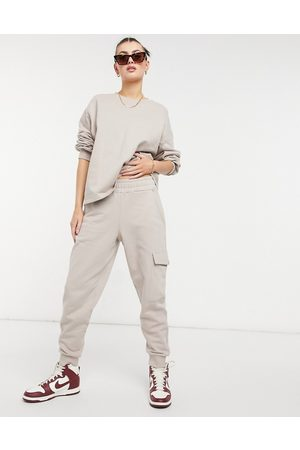 Aligne Organic cotton cuffed sweatpants with pocket detail in mushroom - part of a set-Neutral