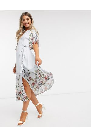 Liquorish Wrap midi dress in floral print