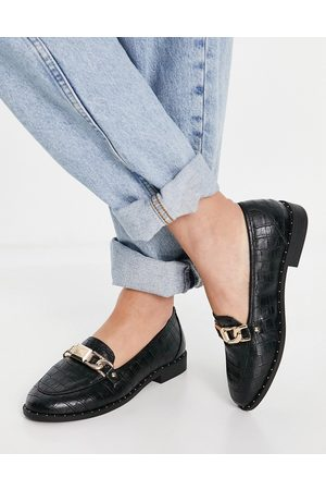 River Island Croc buckle loafer in