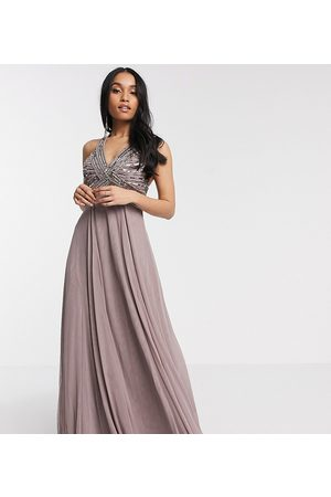 ASOS ASOS DESIGN Petite linear embellished bodice maxi dress with tulle skirt in dusty purple-Blues