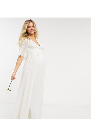 HOPE & IVY Bridal floral beaded and embellished maxi dress with v neck in ivory