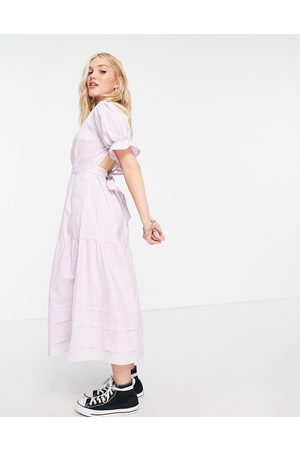 Influence Cotton poplin open back midi dress in lilac