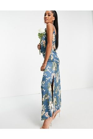 Ax Paris Bridesmaid cami maxi dress in blue floral-Multi