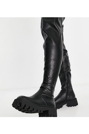 ASOS Wide Fit Kassidy chunky square toe over the knee boots in