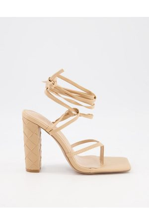 SIMMI Shoes Simmi London Heera woven block heel sandals in -Neutral