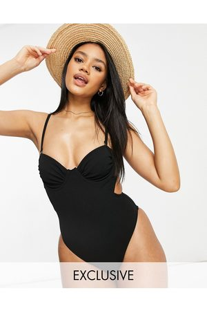 Fashion Union Exclusive underwired swimsuit with ruching detail in
