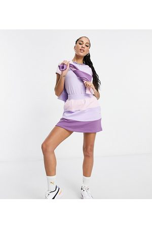 PUMA Downtown color block mini skirt in lilac and pink - exclusive to ASOS