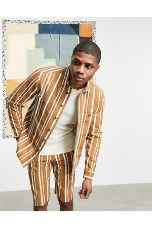 ASOS Matching canvas overshirt in mustard stripe with chest pockets