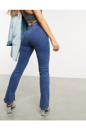 ASOS High rise 'Y2K' stretch flare jeans in midwash-Blues