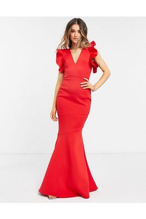 True Violet Black Label cold shoulder maxi dress with fishtail in