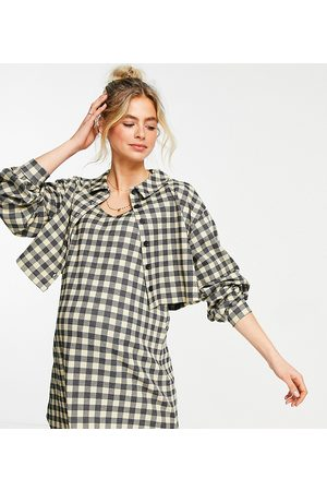 ASOS Women Long sleeves - ASOS DESIGN Maternity long sleeve mini shirt dress with overlayer in check print