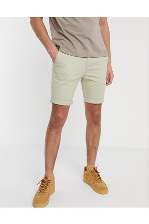 Topman Chino skinny shorts in stone-Neutral