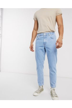 ASOS Classic rigid Jeans in light stone with elasticized waist-Blues