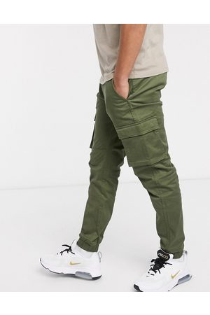 Only & Sons Slim fit cargo pants with cuffed bottom in khaki