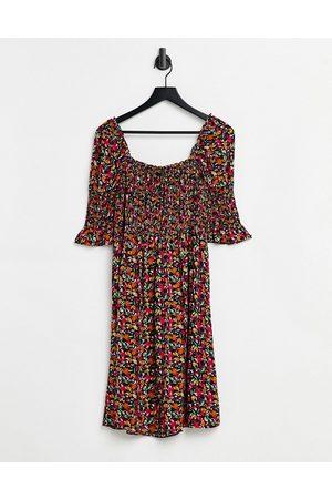 Y.A.S Shirred bodice midi dress in floral-Multi