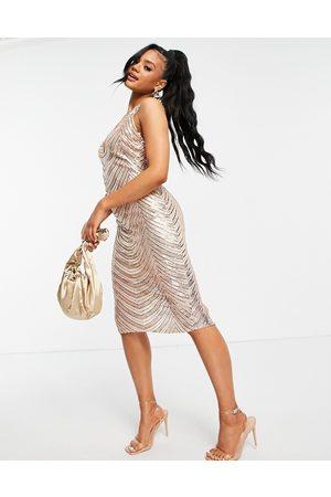 Club L Striped halter neck sequin midi dress in rose gold