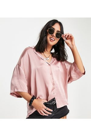 Ghost Harlow short sleeved satin shirt in baby