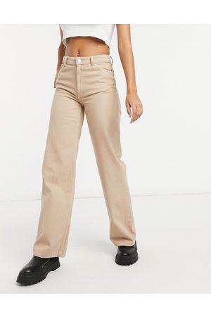 Monki Yoko organic cotton wide leg jeans in -Neutral