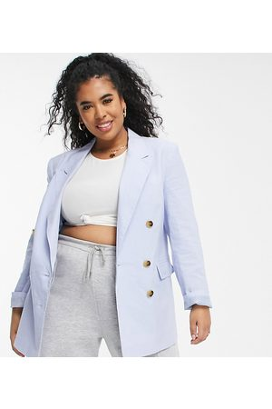 ASOS ASOS DESIGN Curve clean double breasted linen suit blazer in blue-Blues
