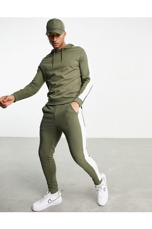 ASOS Organic tracksuit with hoodie & side stripe in khaki